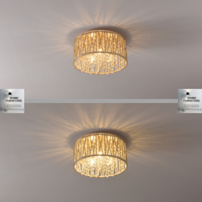 Emilia Design Large Crystal Drum Flush Ceiling Light Gold