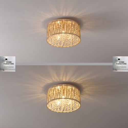 Emilia Design Large Crystal Drum Flush Ceiling Light Gold