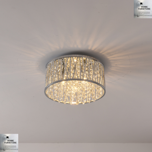 Emilia Crystal Drum Flush Ceiling Light Design Chrome