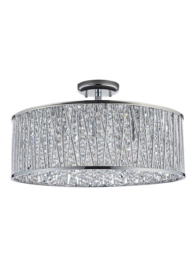 Emilia Design Large Crystal Drum semi flush ceiling Light Chrome