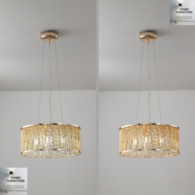 Emilia Design Large Crystal Drum pendant Light Gold