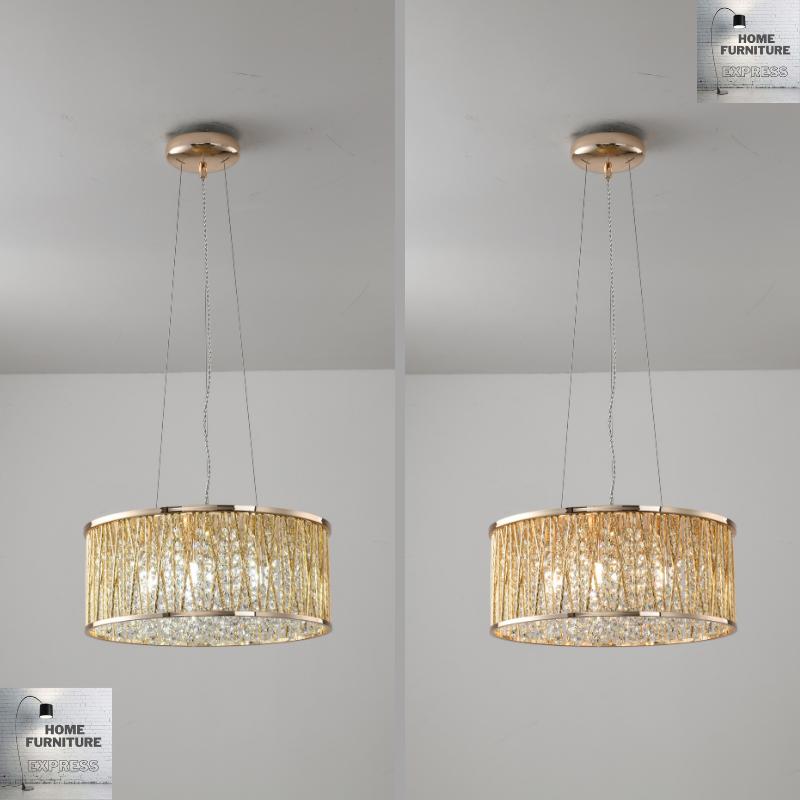 Emilia Design Large Crystal Drum pendant Light Gold
