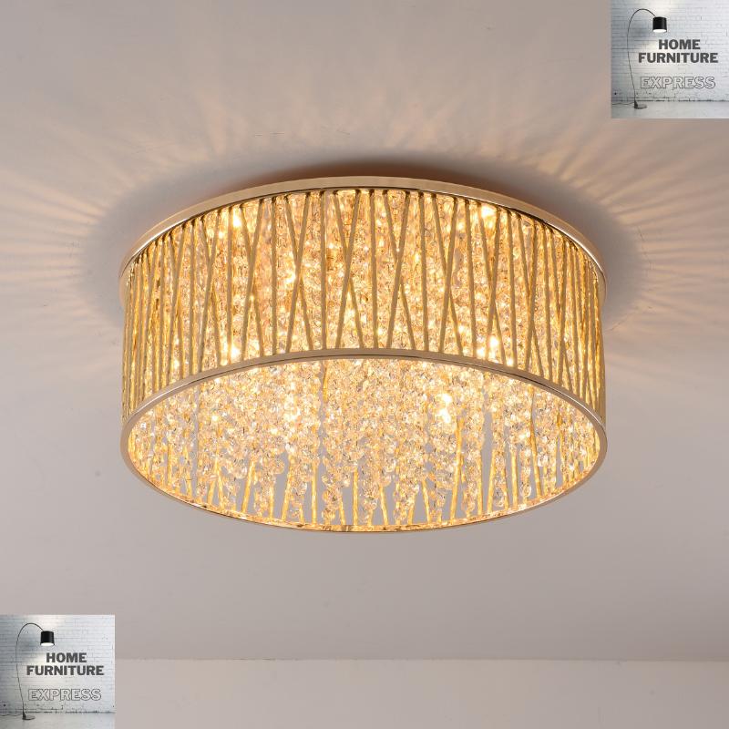 Emilia Large Crystal Drum Flush ceiling Light
