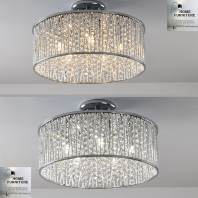 Emilia Design Large Crystal Drum semi flush ceiling Light Gold