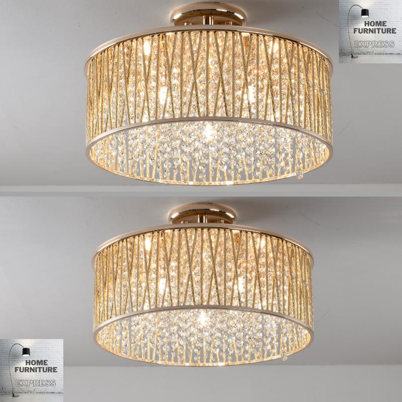Emilia Design Large Crystal Drum semi flush ceiling Light Gold